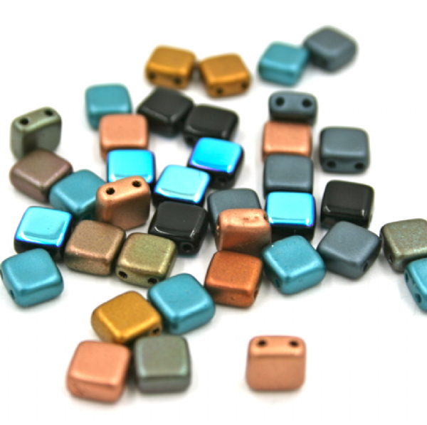 Czech beads - 2-hole squares 6 x 6 mm